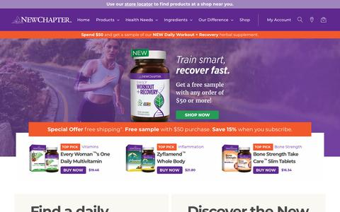 Screenshot of Home Page newchapter.com - New Chapter | Natural Vitamins, Herbals, Supplements, Fish Oils and Calcium - captured May 16, 2018