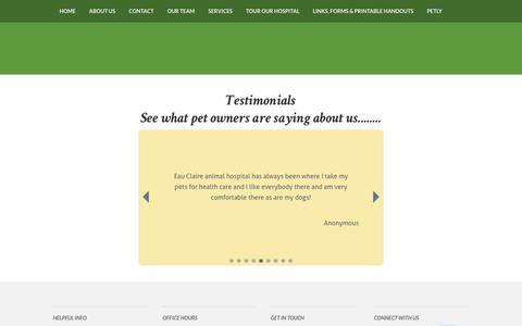 Screenshot of Testimonials Page eauclaireanimalhospital.com - Testimonials - captured Feb. 19, 2018
