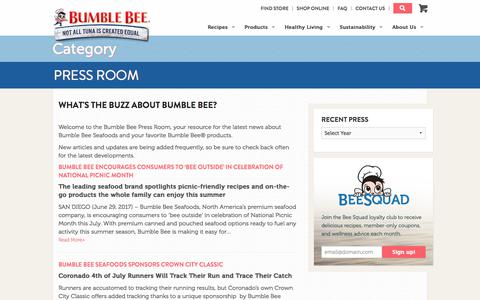 Screenshot of Press Page bumblebee.com - Bumble Bee Press Room - captured July 4, 2017