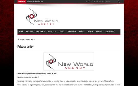 Screenshot of Privacy Page newworldagency.com - Privacy policy | New World Agency official website | New World Agency is a sports management firm that aims to provide elite athletes with unparalleled professional representation in North America's most competitive and lucrative sporting association - captured Oct. 26, 2014