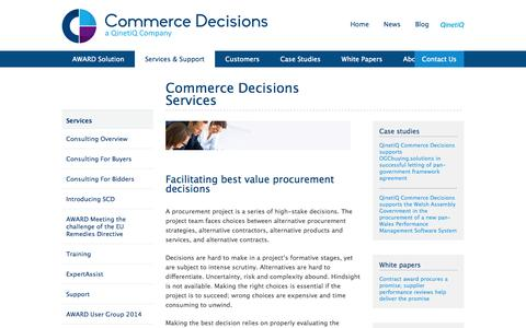 Screenshot of Services Page qinetiq.com - Commerce Decisions Services | Commerce Decisions - captured Oct. 10, 2014