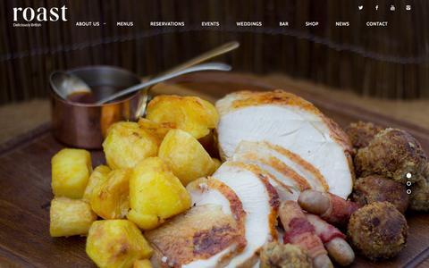 Screenshot of Home Page roast-restaurant.com - Roast Restaurant | Deliciously British - captured Nov. 5, 2015