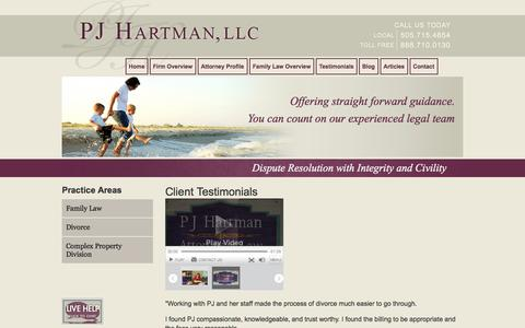 Screenshot of Testimonials Page pjhartman.com - Client Testimonials | PJ Hartman, LLC | Albuquerque New Mexico - captured Oct. 1, 2014