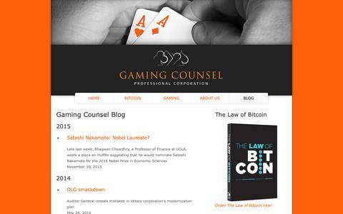 Screenshot of Blog gamingcounsel.co - Gaming Counsel Blog | Gaming Counsel Professional Corporation - captured Sept. 27, 2018