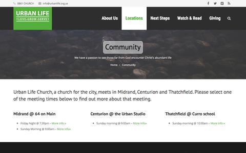 Screenshot of Locations Page urbanlife.org.za - Community - Urban Life Church - captured Feb. 22, 2016