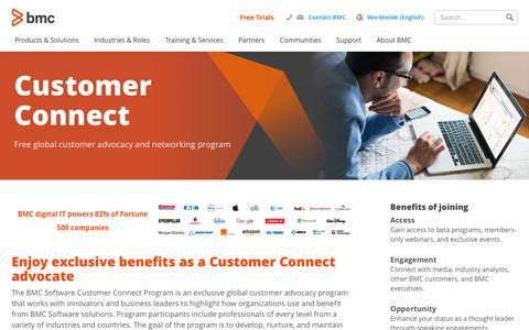 Screenshot of Support Page bmc.com - Customer Connect Program - BMC - captured Nov. 27, 2016