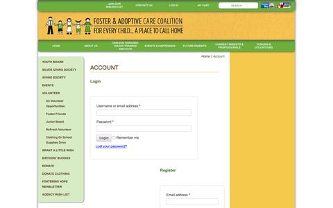 Screenshot of Login Page foster-adopt.org - Account | Foster and Adoptive Care - captured Feb. 10, 2016
