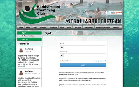 Screenshot of Login Page teamunify.com - Berkhamsted Swimming Club : Sign In - captured Feb. 19, 2018
