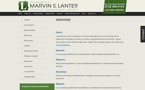 Screenshot of Testimonials Page lanterlaw.com - Testimonials - captured Oct. 1, 2014