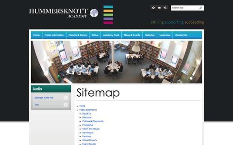 Screenshot of Site Map Page hummersknott.org.uk - Sitemap - Hummersknott Academy - captured Oct. 3, 2014