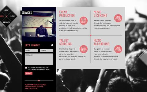 Screenshot of Services Page secretstudy.ca - Services   Secret Study - captured Oct. 3, 2014