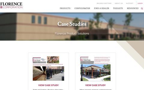 Screenshot of Case Studies Page florencemailboxes.com - Case Studies | Florence Mailboxes - captured Nov. 14, 2018