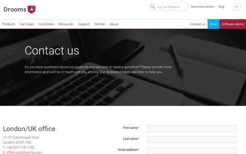 Screenshot of Contact Page drooms.com - Contact | Drooms - captured May 24, 2019