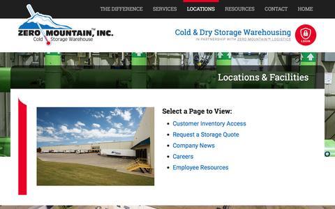 Screenshot of Locations Page zeromtn.com - Locations & Facilities : Zero Mountain Cold Storage Warehouse - captured Feb. 26, 2016