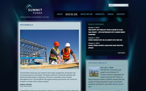 Screenshot of Testimonials Page summitpower.com - Testimonials | Summit Power - captured Oct. 7, 2014