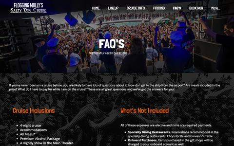 Screenshot of FAQ Page floggingmollycruise.com - Flogging Molly's Salty Dog Cruise 2019 - captured Dec. 19, 2018