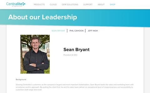 Screenshot of Team Page centralite.com - About our Leadership | Centralite | All Together Now - captured Sept. 27, 2018