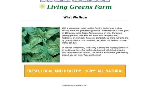 Screenshot of Products Page livinggreensfarm.com - Contact Living Greens Farm - captured Jan. 30, 2016