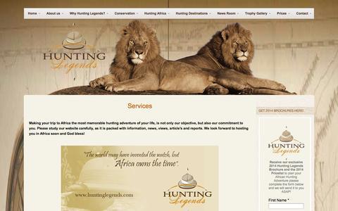Screenshot of Services Page huntinglegends.com - Services - Hunting Legends - Hunting in Africa - captured Oct. 3, 2014