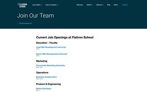 Join Our Team   Flatiron School