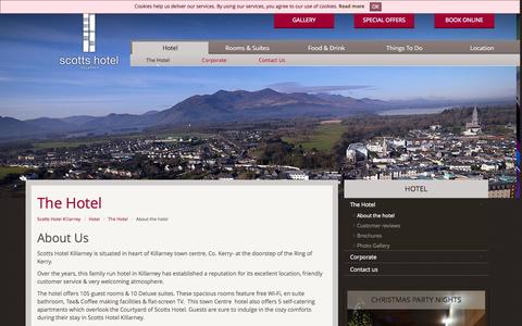 Screenshot of About Page scottshotelkillarney.com - The Scotts Hotel in Killarney | Tradtional Irish Hotel in County Kerry - captured Sept. 30, 2014