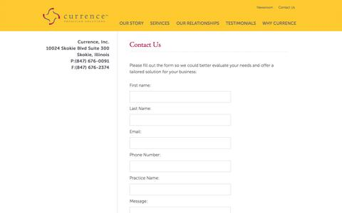 Screenshot of Contact Page medcurrence.com - Contact Us - captured Oct. 3, 2014