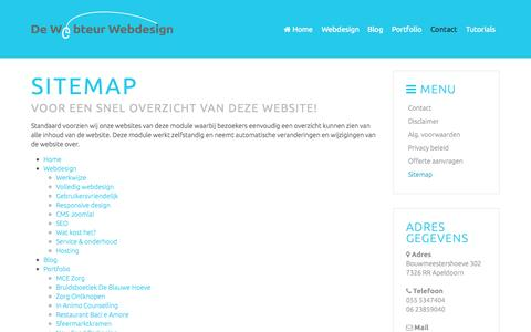 Screenshot of Site Map Page webteur.nl - Sitemap website van De Webteur Webdesign uit Apeldoorn - Gelderland - captured Oct. 5, 2014