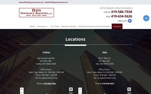 Screenshot of Locations Page haysinsurance.net - Serving Ohio | Celina & Ada, OH | Hays Insurance Agencies, LLC - captured Sept. 27, 2018