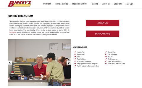 Screenshot of Jobs Page birkeys.com - Jobs | Birkey's Farm Store | Champaign - captured April 26, 2018