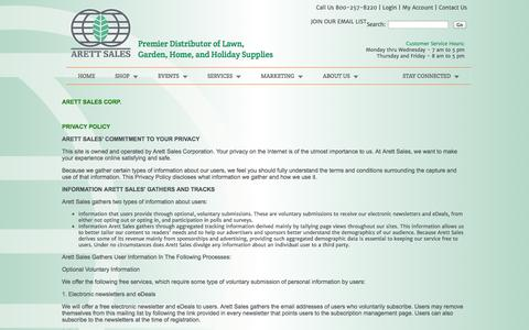 Screenshot of Privacy Page arett.com - Arett Sales - Premier Distributor of Lawn, Garden, Home, and Holiday Supplies | 800 257-8220 - captured Oct. 4, 2014