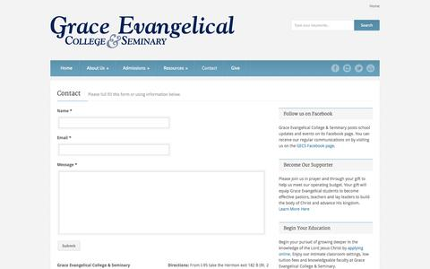 Screenshot of Contact Page gecs.us - Grace Evangelical College & Seminary   » Contact - captured Oct. 3, 2014