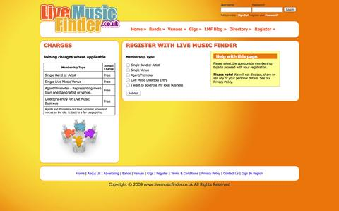 Screenshot of Signup Page livemusicfinder.co.uk - Register with Live Music Finder - captured Sept. 30, 2014