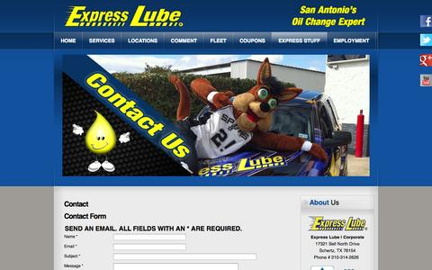 Screenshot of Contact Page expresslube.com - Contact Us | Express Lube - captured Oct. 3, 2014