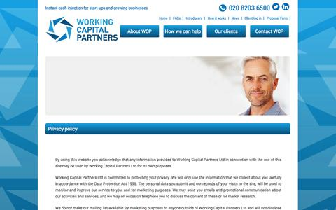 Screenshot of Privacy Page workingcapitalpartners.co.uk - Privacy policy | Working Capital Partners - captured Oct. 7, 2014