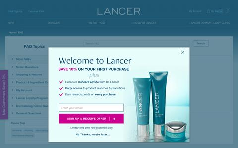 Screenshot of FAQ Page lancerskincare.com - Frequently Asked Questions - captured May 14, 2017