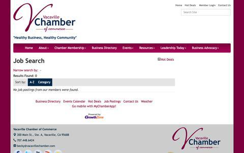 Screenshot of Jobs Page vacavillechamber.com - Job Search - Vacaville Chamber of Commerce, CA - captured Oct. 18, 2018