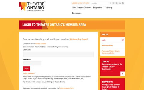 Screenshot of Login Page theatreontario.org - Login to Theatre Ontario's Member Area - captured Oct. 20, 2018