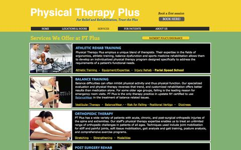 Screenshot of Services Page ptpluscny.com - Physical Therapy Plus CNY/Services & Therapy/Syracuse - captured July 31, 2017