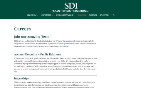 Screenshot of Jobs Page susandavis.com - Careers | Susan Davis International - captured Oct. 20, 2018