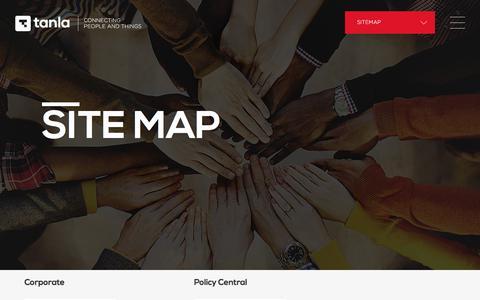 Screenshot of Site Map Page tanla.com - Enabling Cloud Communications.. - captured Sept. 24, 2018
