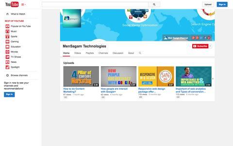 Screenshot of YouTube Page youtube.com - MenSagam Technologies  - YouTube - captured Oct. 27, 2014