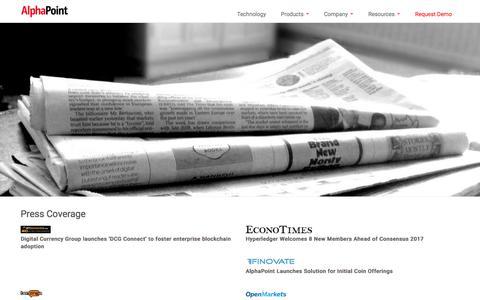 Screenshot of Press Page alphapoint.com - Blockchain Solutions & Digital Asset Exchange Software  |  AlphaPoint - captured Oct. 8, 2017