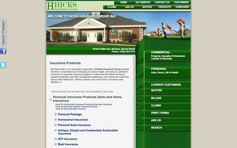 Screenshot of Products Page hicksinsurance.com - Insurance Products - Hicks Insurance Group - Mokena, Illinois 60448 - captured Oct. 3, 2014