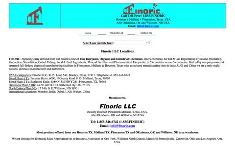 Screenshot of Locations Page finoric.com - Finoric Locations, USA - captured Oct. 25, 2018