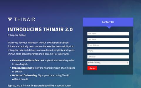 Screenshot of Landing Page thinair.com - Insider Detection & Investigation Live Demo - captured April 9, 2018