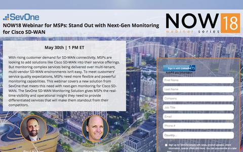 Screenshot of Landing Page sevone.com - NOW18 Webinar for MSPs: Stand Out with Next-Gen Monitoring for Cisco SD-WAN - captured Sept. 21, 2018