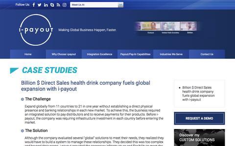Screenshot of Case Studies Page i-payout.com - i-payout - captured Sept. 20, 2018