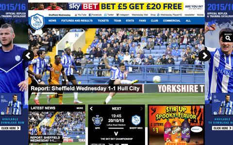 Screenshot of Home Page swfc.co.uk - Official Website of the Owls - Sheffield Wednesday FC latest news, photos and videos - captured Oct. 17, 2015
