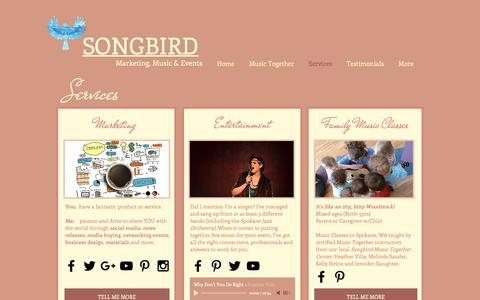 Screenshot of Services Page songbirdconsulting.com - songbird | Services - captured Dec. 1, 2016