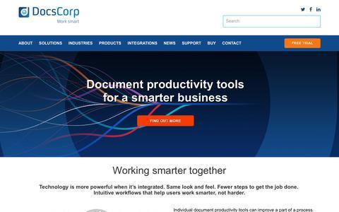 Screenshot of Home Page docscorp.com - DocsCorp l Document Management System Software - captured July 20, 2019